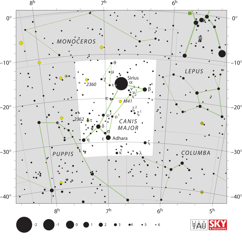 Image of Canis-Major as seen on a star chart