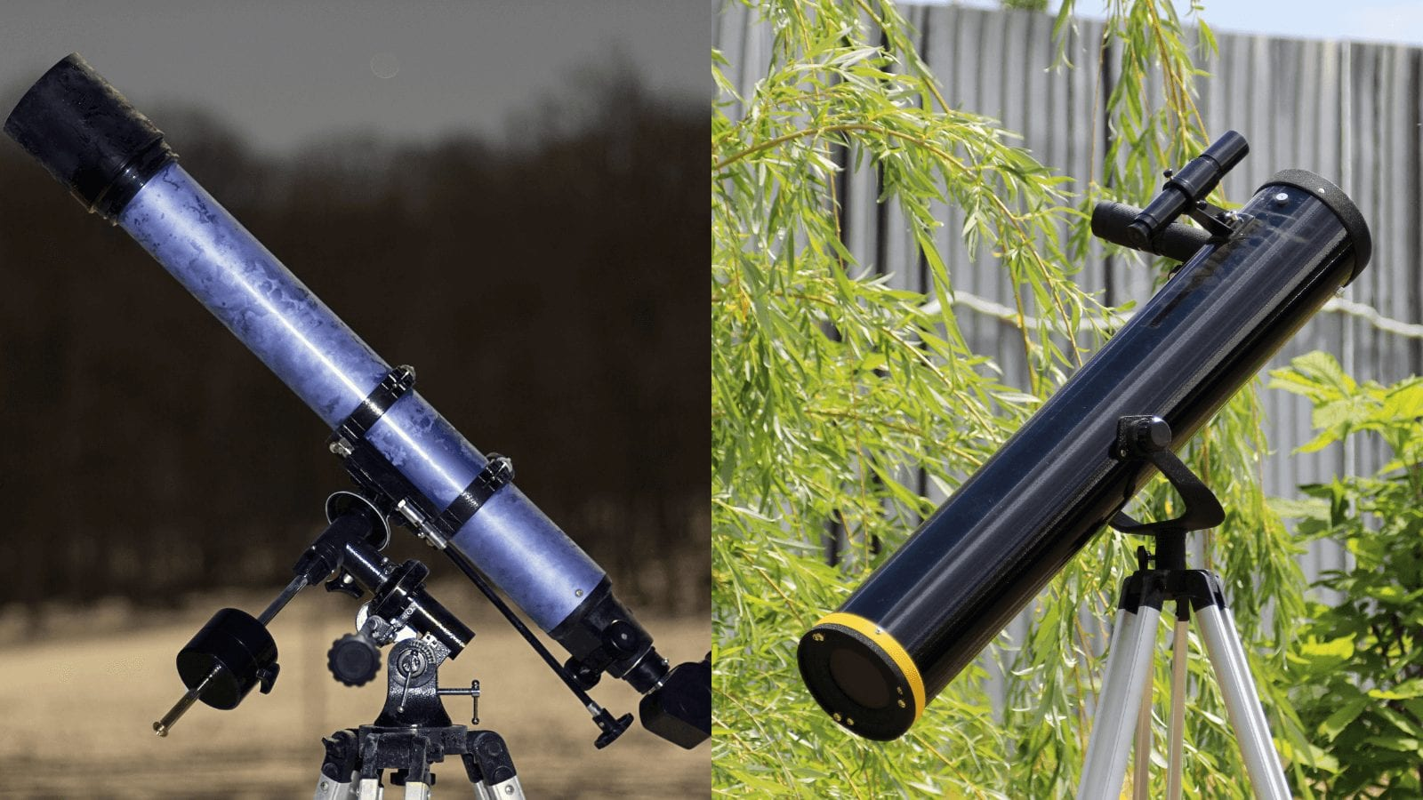 Refractor Telescope next to Reflector Telescope