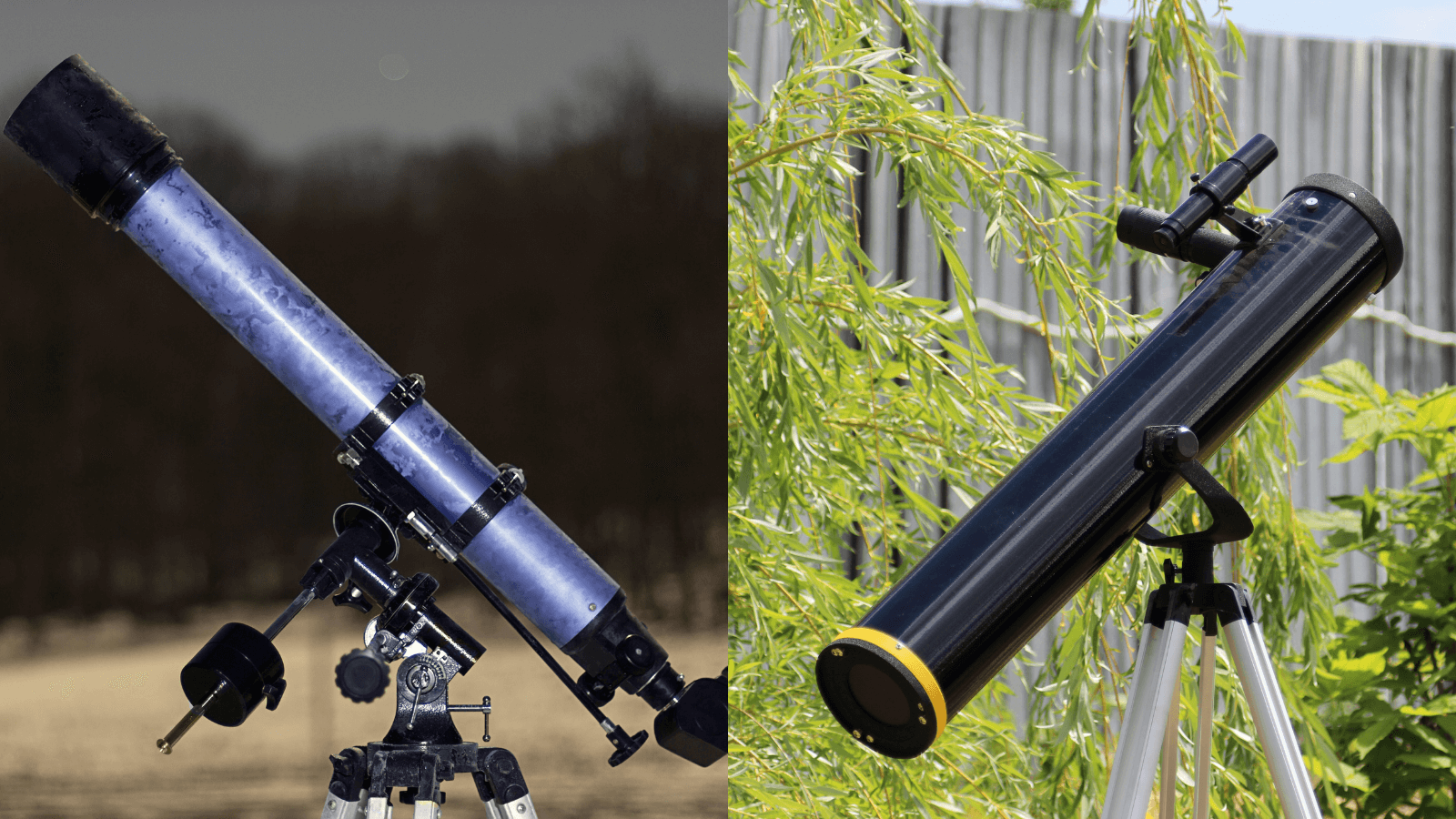 Refractor Telescope next to Reflector Telescope